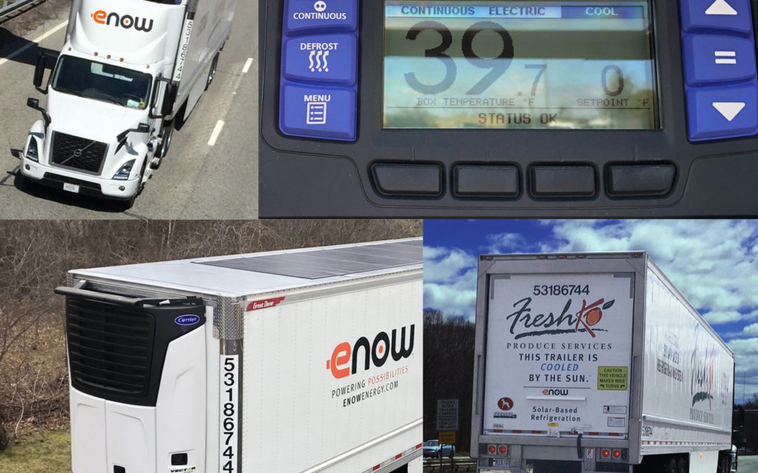 Montage of eNow all-electric solar charged 53-foot reefer trailer